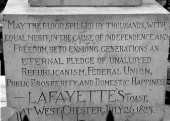 Inscription on Lafayette's monument
